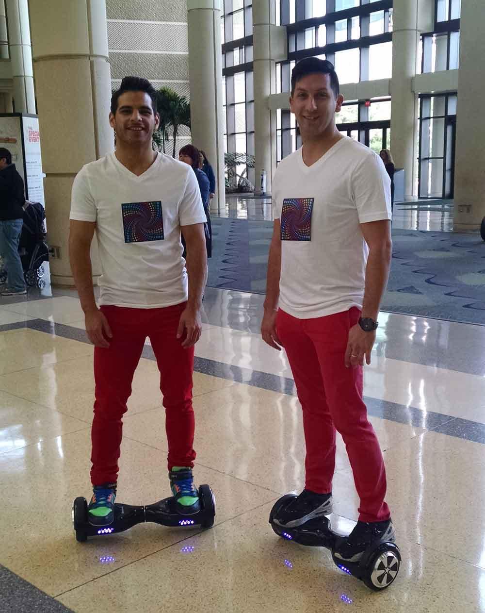 Men on hoverboards