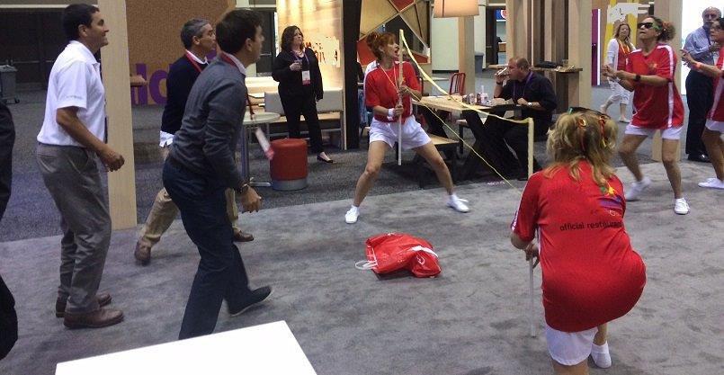 improv badminton players