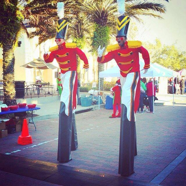 Nutcracker soldiers on stilts